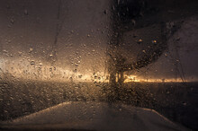 Spray Splattered Window At Sea