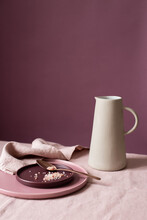 Still Life With Jug, Plates And Pink Salt