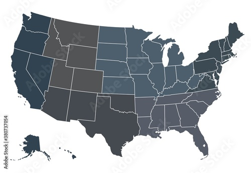 Usa regional map. Map of Usa with separate states