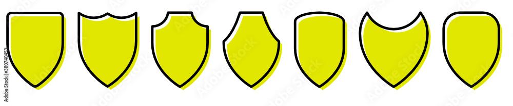 Fototapeta Set of yellow shield vector icon. Protect symbols