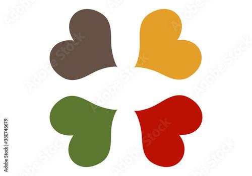 Fotografie, Obraz Corazones en colores de otoño, mostaza, rojo, verde y marrón sobre fondo blanco