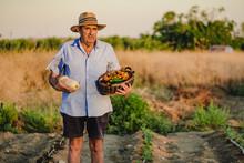Aged Male Farmer Standing Bare...