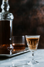 Whiskey Served In Glass On Marble Table In Bar