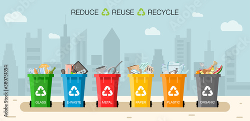 Plastic containers for garbage of different types Fotobehang