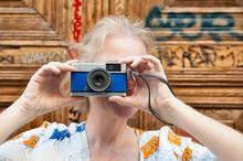 Middle Aged Female Traveler St...