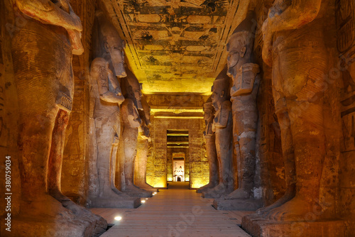 Abu Simbel, Egypt - Inside the great temple of Ramses II at Abu Simbel.