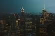View of New York city skyline by night