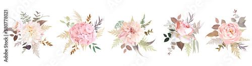 Fototapeta Luxurious beige trendy vector design floral bouquets obraz