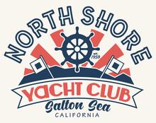 North Shore Yacht Club Design | Salton Sea T-Shirt | Retro Graphic Tee Layout | Vintage 1960s Style | Nautical Symbol | Vector Image