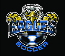 Eagles Soccer Team Design With Mascot And Half Ball For School, College Or League