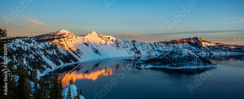 Crater Lake just before sunrise, Crater Lake National Park in winter, Oregon Canvas Print