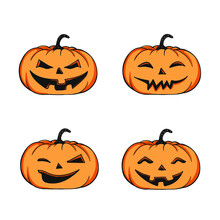 Set Of Four Halloween Pumpkins - Isolated Illustration