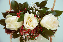 Flower Arrangement With Three White Roses