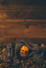 Pumpkin-child Dressed In Scarf