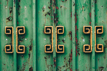 Detail Of A Green Gate In Bangkok