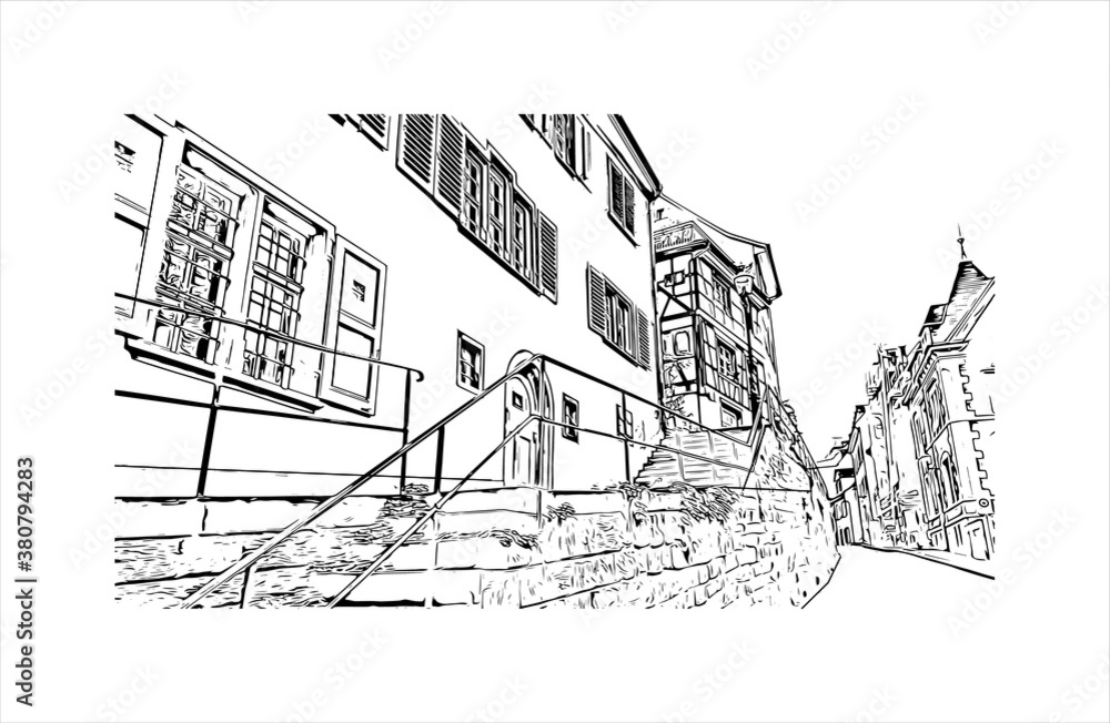 Fototapeta Building view with landmark of Basel is a city on the Rhine River in northwest Switzerland. Hand drawn sketch illustration in vector.