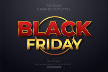 Black Friday Red Gold Editable Text Style Effect Premium