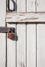 Rusty Lock, White Wood