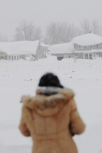A Woman Watches Snow Fall During A Blizzard In Buffalo