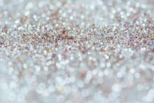 Silver Glitter With Shallow Depth Of Field