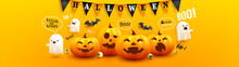 Happy Halloween Poster And Banner Template With Cute Halloween Pumpkin, Scary White Ghosts, Bats And Buntings On Yellow Background. Website Spooky,Background Or Banner Halloween Template.