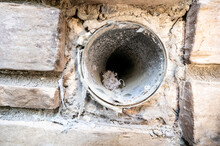Interior View Of Dryer Vent Line With Lint And Dust Buildup