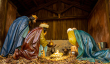 The Nativity Of Jesus, Nativity Of Christ, Birth Of Christ Or Birth Of Jesus Represented By Small Figurines. The Nativity Is The Basis For The Christian Holiday. Terracotta Figurines