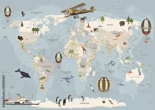 mapa-swiata-ze-zwierzetami-tapeta-dla-dzieci