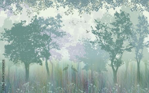 Fototapeta Green forest, herons in the grass obraz