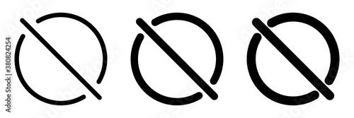 Fototapeta Set of black no sign. No prohibition symbol obraz