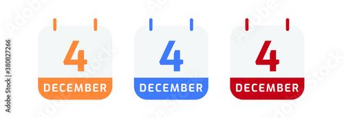 Obraz 4 december calendar vector design - fototapety do salonu