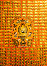 Close-up Texture Fragment Of A Wall Of A Buddhist Temple Hand Painted Wall
