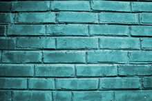 Abstract Turquoise Brick Wall Surface