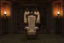 Ancient Royal Throne Room With Flame Torches And Large Throne, 3d Render.