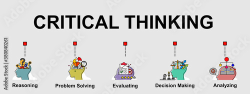 The vector banner of Critical thinking skills Canvas Print