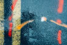 Spray Paint Markings On Urban Sidewalk And Street, Close Up