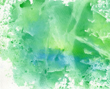 Watercolor Background In Green...