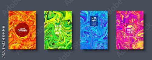 Fototapeta Colorful abstract geometric background. Liquid dynamic gradient waves. Fluid marble texture. Modern covers set. Vector illustration. obraz