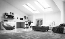 Modern Attic Studio Furnishing...