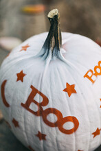 Painted: Friendly Boo Painted Pumpkin On Wood