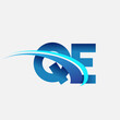 initial letter QE logotype company name colored blue and swoosh design. vector logo for business and company identity.