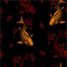 Carps Background Dark Gold Red Decor Repeating Design