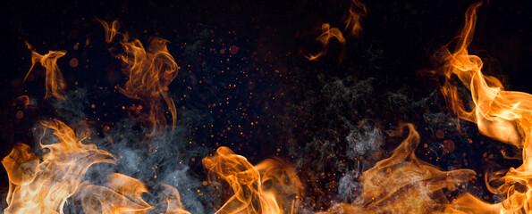 Panel Szklany Podświetlane Abstrakcja Feuer Rauch Grillen