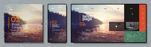 Fototapeta Vector. Sunset desktop wallpaper. Modern flat web design in responsive website, app and brochure cover . obraz