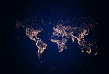 Earth Night Map. Vector Illustration Of Cities Lights From Space. Dark Map