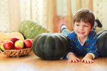 Little Child Choose A Pumpkin At Autumn. Child Sitting On Giant Pumpkin. Pumpkin Is Traditional Vegetable Used On American Holidays - Halloween And Thanksgiving Day.