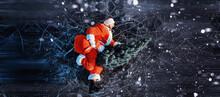 Santa Claus On Ice Skates Goes...