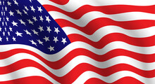 USA National Fabric Wave Flag As Patriotic Background, Vectror Illustration Symbol.