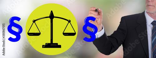 Fototapeta Law concept drawn by a businessman obraz