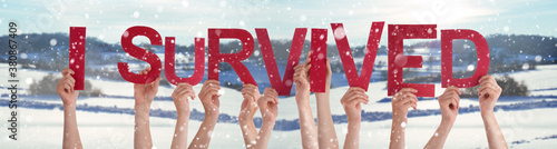 Fototapeta People Hands Holding Colorful English Word I Survived. Snowy Winter Background With Snowflakes obraz
